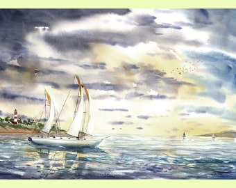 sailboat painting landscape painting watercolor PRINT seascape at Assateague Lighthouse nautical sunset ocean water GICLEE