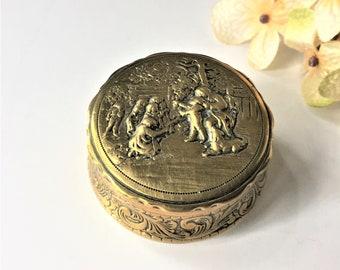 Vintage Italian Silver Jewelry Box, Guido Galbiati Ring Presentation Box, Embossed Keepsake Box, Repousse Trinket Pill Storage