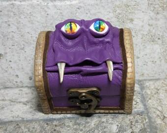 Treasure Chest Desk Organizer Monster Trinket Dice Box Ring Box Small Storage Stash Purple Leather 282