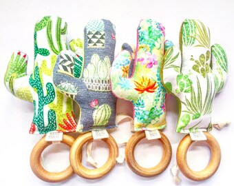 Cactus Teether - Teething Ring - Southwest Style - Boho Baby - Natural Untreated Wood Ring for Teething  - Saguaro Succulents