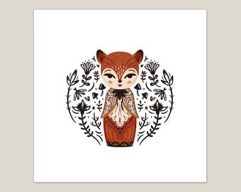 Fox Doll - Art Print 8x8