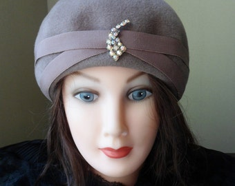 Chevalier Rhinestone Hat, Miss Becky Pill Box Hat Made of Imported Fur, Gray Hat with Rhinestones and a Grosgrain Ribbon