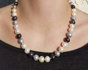 10mm freshwater pearl necklace  multi color  18 inch freshwater pearl necklace 1 strand - bridal jewelry - real pearl necklace