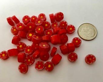 Murrine Millefiori 104 coe, RED YELLOW CLEAR, 28 grams (1 oz), Flowers 8-9 mm, Best Quality Italian Glass Slices