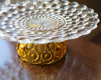 Yellow Cake Stand / Vintage Glass Cake Stand Pedestal / Cupcake Stand Truffle Pedestal / Macaron Stand Macaron Pedestal for Macarons