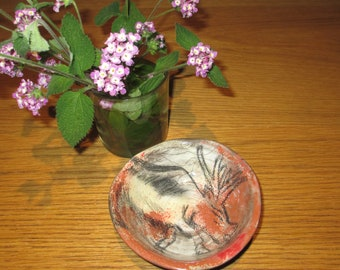 Small bowl cave painting style.