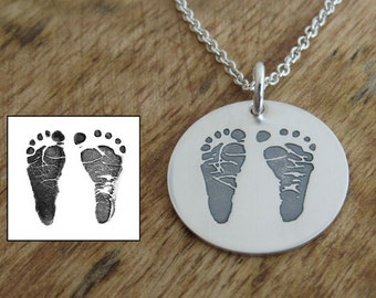 Footprint Necklace, Baby Footprint, Footprint Jewelry, New Mom Gift, Actual Footprint, Personalized Footprint, Footprints