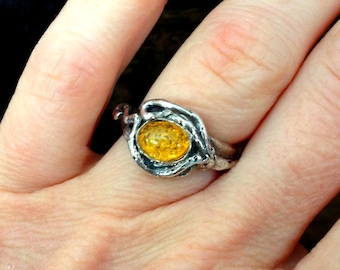 Roots & Resin Ring: Honey Amber with Recycled Sterling, Size 5 1/4