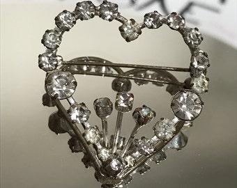 Vintage Austrian Crystal Heart brooch