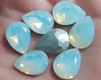 3 pcs 18mm x1 3mm Teardrop Crystal Glass Fancy StoneS Pointed Back Cabochon Opal White
