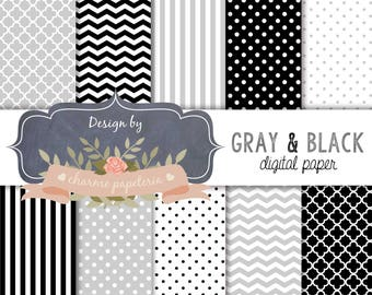 SALE Black and Gray Digital Paper, Chevrons, Stripes, Polka Dots, Instant Download, Scrapbooking Paper Pack