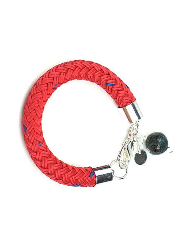Rope Bracelet in Red Chunky Boating Cord with Blue Patina Copper Bead and Silver Disc Charms  / Nautical Jewelry / Marine Bracelet