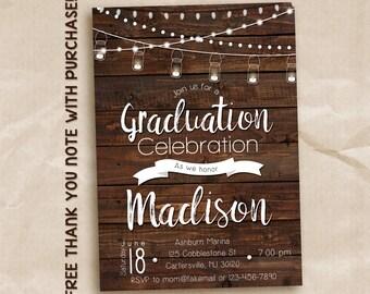 Mason jar graduation invitation / rustic graduation party invitation / graduation celebration / printable invitation
