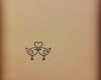 Cute micro mini Love Birds Kissing Rubber Stamp lovebirds