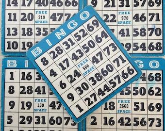 Vintage blue Bingo Cards lot of 10 - game cards - old bingo - wedding bingo - blue reusable vintage game  boards -