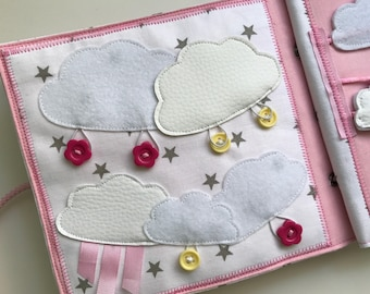 Quiet book PAGE, handmade busy book page, sensory toy for kids with clouds and buttons