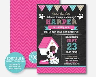 Instant Download, Editable Puppy Birthday Invitation, Dog Birthday Invitation, Puppy Invitation, Dog Invitation, Girl, Chalkboard (CKB.289)