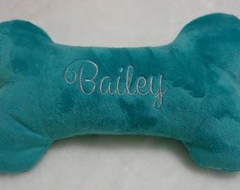 "Dog Bone - Embroidered Bone - Double Squeaker Dog Toys - Personalized with Name and Birthdate or Gotcha Date  - 6"" , 10"" or 12"""