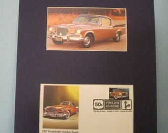 The 1957 Studebaker Golden Hawk and the First day Cover of its own stamp