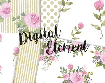 Commercial Use: Digital Scrapbook Paper, Hand Painted Watercolor Rose Paper, Shabby Chic Rose Paper, Vintage Rose Paper. No. P140