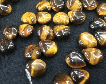 33pcs/lot - Natural Tiger Eye Stone Puffy Flat teardrop Briolette Beads 10x11mm  -Top drilled