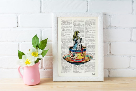 Alice in wonderland Alice in a tea cup- Alice in Wonderland ,Collage Print on Vintage Dictionary Bookart art ALW011b