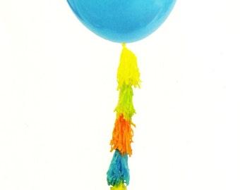 Large Balloon with Tassels, 36 Inch Balloon, Tassel Balloon, Birthday Balloon, Baby Shower Balloon