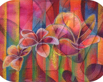 Instant Download - Mixed Media Illustration of Three Plumeria Blooms