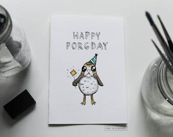 Greeting Card - Happy Porgday / Birthday, Porg, Puns + Star Wars-Inspired