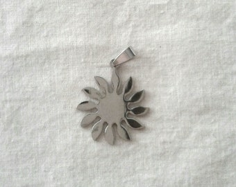 SALE - Stainless Steel Sun Pendant with Bail - 28 mm