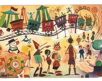 Children room decor, baby room decor, Pinocchio, illustration child, illustration, home decor, Pinocchio gift, Christmas present, drawing