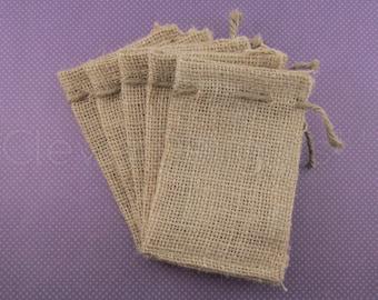 "24 - 3x5 Small Burlap Bags - Natural Rustic Burlap Bags with Natural Jute Drawstring for Showers Weddings Parties Receptions - 3"" x 5"""