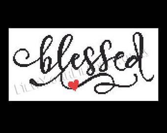 Blessed Sign Cross Stitch, Blessed Sign, Cross Stitch Words, Signs, Cross Stitch, Words Pattern from NewYorkNeedleworks on Etsy