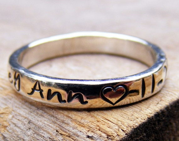 Personalized Name Ring, Stackable Handstamped Mother's Ring, Engraved Ring, Mother's Day, Sterling Silver Memory Keepsake Ring