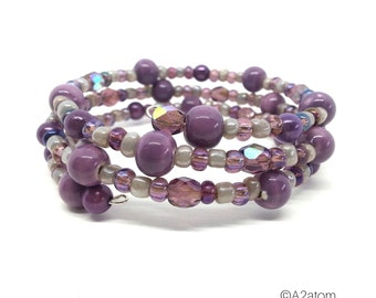 Purple beaded memory 3 rows harmony of natural pearls Bohemian style