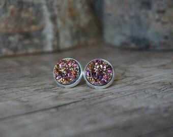 Earrings rose Crystal stones