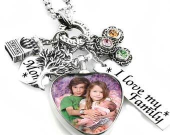 Sterling Silver Heart Locket, Photo Locket, Heart Glass Locket, Kids Picture Locket, Mom Photo Locket, Expert Graphic Design Work Option