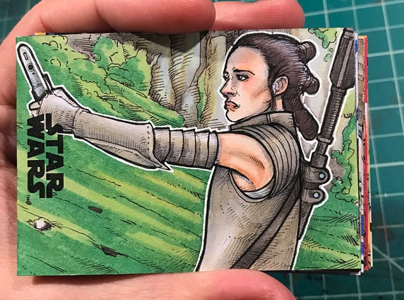 Journey to the Last Jedi Original Artist Sketch Card: Rey with Saber