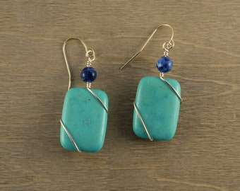 Wire-wrapped Turquoise Magnesite with a Blue Lapis Lazuli Accent