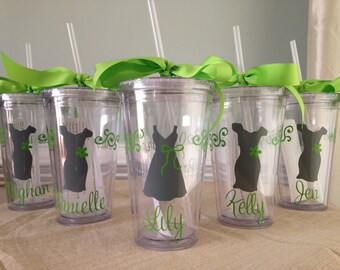 4 Personalized Bride, Bridesmaid, Flower Girl  Acrylic Tumblers (BPA-free)