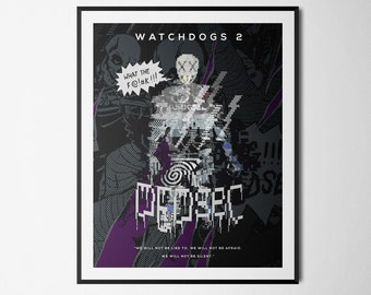 Watchdogs 2 - Dedsec Edition Inspired Double Exposure Poster Print - Video Game Art
