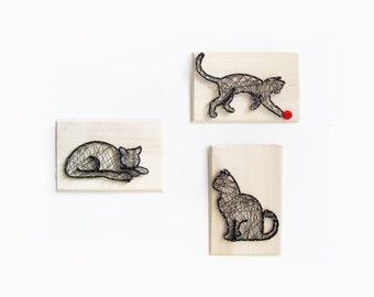 DIY kit Cats family - gift for cat lady - Cat sign -  Cat decor - DIY kit - Cat String art kit
