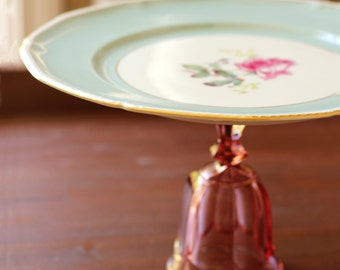 Shabby Chic Cake Stand / Cottage Style Dessert Pedestal / Robin Egg Blue & Pink Rose Vintage Plate / Shabby Chic Decor Shabby Chic Weddings