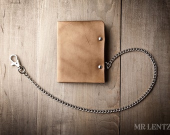 Men's Leather Chain wallet, Men's Chain Wallet, Thin Leather Chain Wallet, Minimal Leather Wallet 005_CH