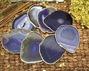 Agate Coaster Gold Plated Agate Slice - Purple Agate Slice with 24k Gold Electroplated Edge - Home Decor (RK77B12)