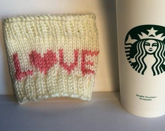 LOVE coffee cup cozy - knit cup sleeve - reusable travel mug sleeve - Valentine's Day
