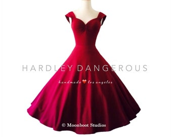 Mid Calf Length!  Burgundy Wine CHERRYBOMB Sweetheart Swing Dress Hardley Dangerous Couture, 1950s Style Pin Up Party Dress