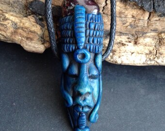 Hand Carved Clay Ancestor Pendant with Garnet - Spiritual Jewelry - Face Pendant - Pagan Jewelry