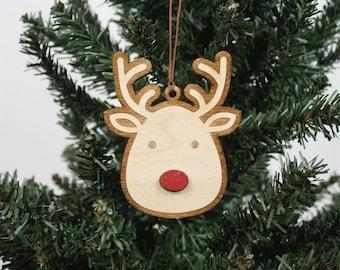 Rudolph Ornament   Holz Ornament   Urlaub Dekoration   Urlaub Ornament   Christmas Ornament   Wohnkultur   Rentier   Hergestellt in Maine