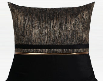 "Luxury Black and Gold Horizontal Line Jacquard Pillow 20""X20"""